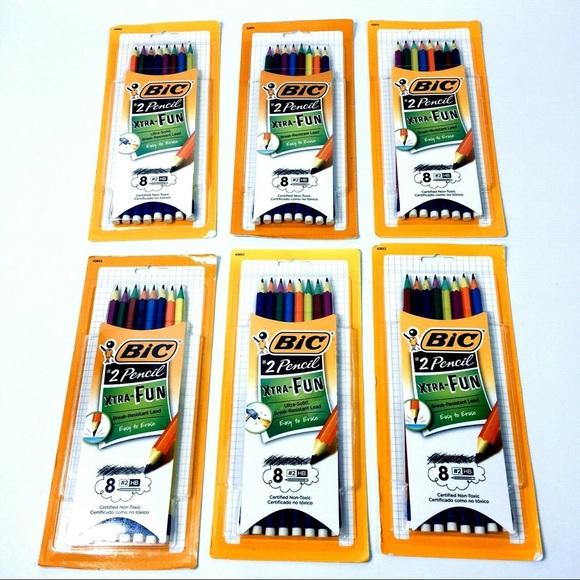 BIC Xtra Fun #2 Pencil Two Tone Multi Color Barrels Black Lead 8 Count 2 Pack
